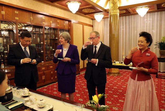 President Xi Jinping, Theresa May, husband Philip and Peng
