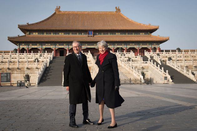 Theresa May and husband Philip in the Forbidden City,