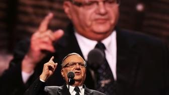 CLEVELAND, OH - JULY 21:  Maricopa County Sheriff Joe Arpaio gestures to the crowd while delivering a speech on the fourth day of the Republican National Convention on July 21, 2016 at the Quicken Loans Arena in Cleveland, Ohio. Republican presidential candidate Donald Trump received the number of votes needed to secure the party's nomination. An estimated 50,000 people are expected in Cleveland, including hundreds of protesters and members of the media. The four-day Republican National Convention kicked off on July 18.  (Photo by John Moore/Getty Images)