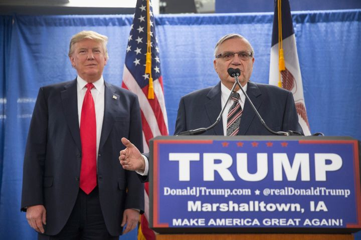 Joe Arpaio endorses then-Republican presidential candidate Donald Trump prior to a rally on Jan. 26, 2016 in Marshalltown, Io