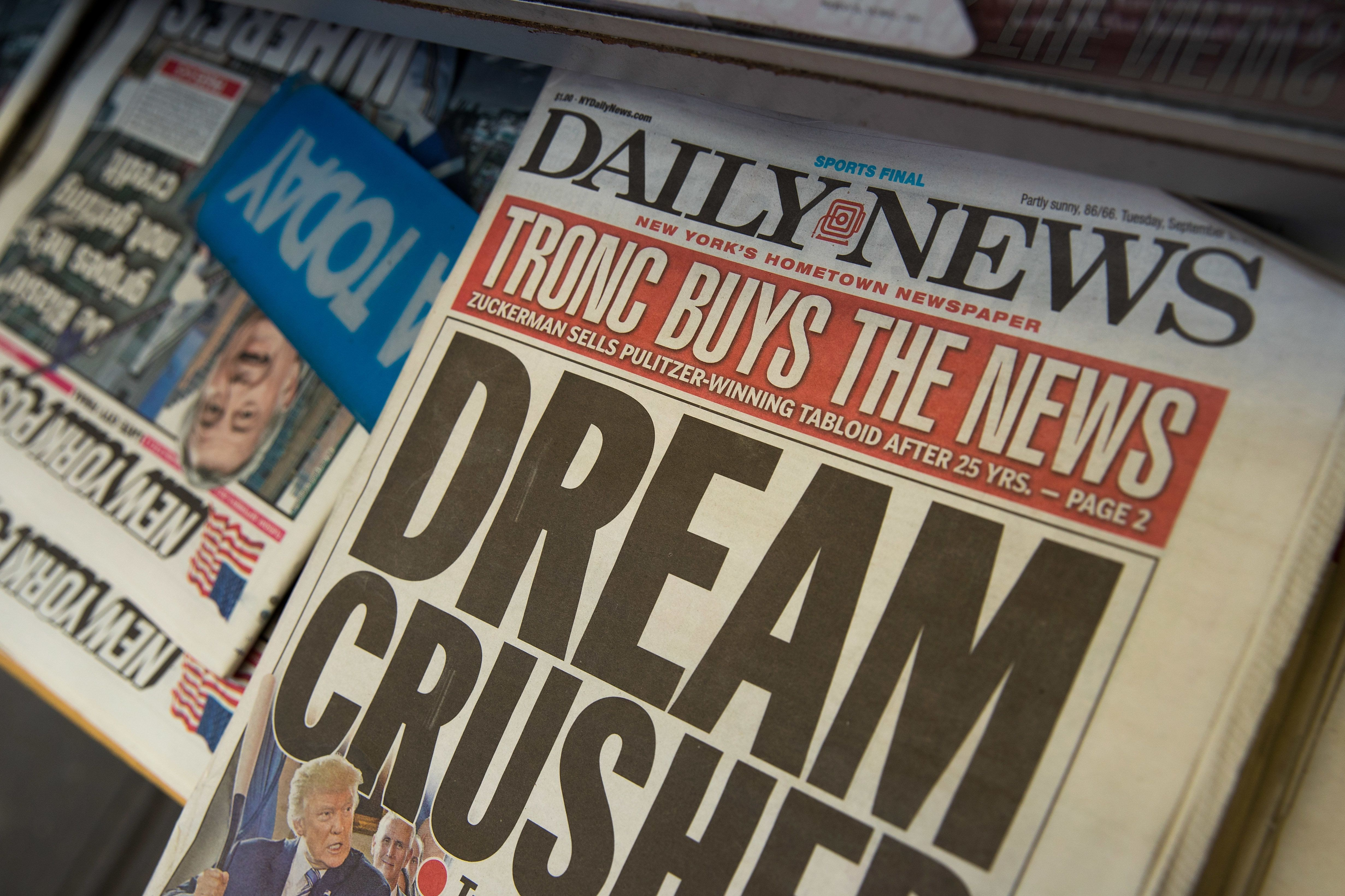 NEW YORK, NY - SEPTEMBER 5: A copy of Tuesday's New York Daily News sits on the shelf of a newsstand, September 5, 2017 in New York City. Tronc, the publisher of the Chicago Tribune and The Los Angeles Times newspapers, announced on Monday that is had purchased The New York Daily News. Previously owned by Mort Zuckerman, Tronc paid one dollar in cash plus the assumption of liabilities to purchase the nearly 100-year old tabloid newspaper. (Photo by Drew Angerer/Getty Images)