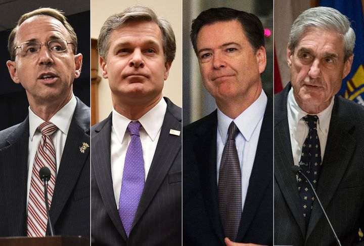 Deputy Attorney General Rod Rosenstein, FBI Director Christopher Wray, former FBI Director James Comey and special counsel Ro