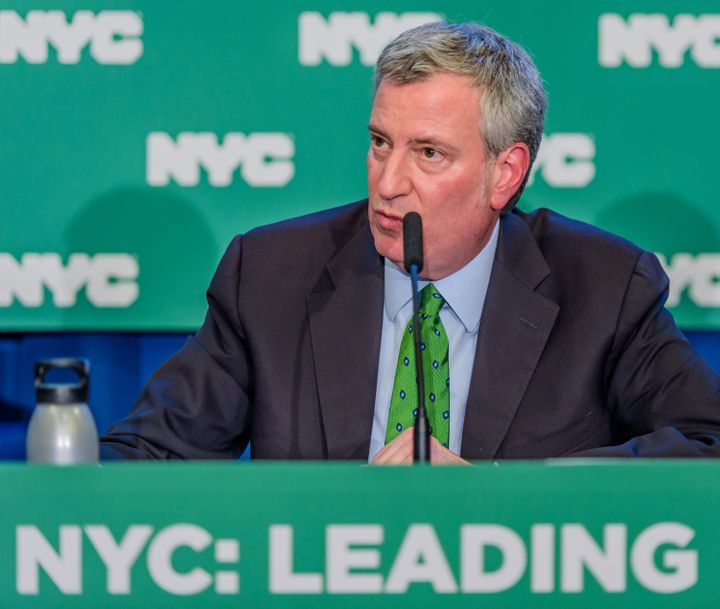 New York Mayor Bill de Blasio announced plans to divest from fossil fuels and sue oil companies on Jan. 10.