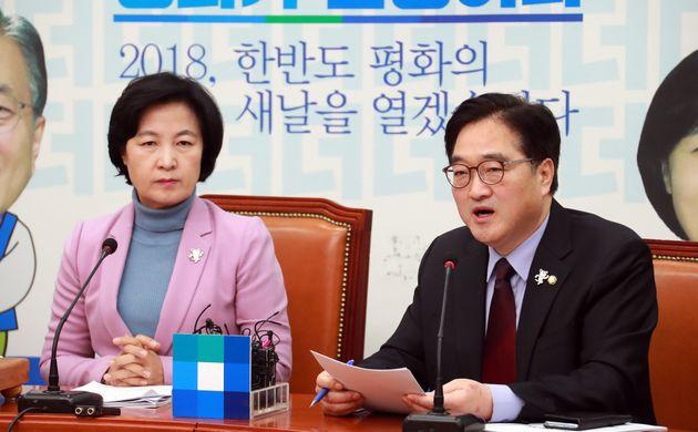 우원식 더불어민주당 원내대표가 2월 2일 오전 서울 여의도 국회 본청에서 열린 최고위원회의에서 발언을 하고