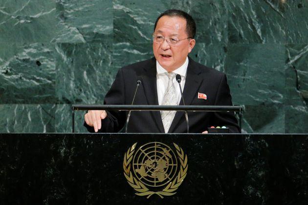 리용호 북한 외무상이 제72차 유엔총회에서 연설하는 모습. 2017년