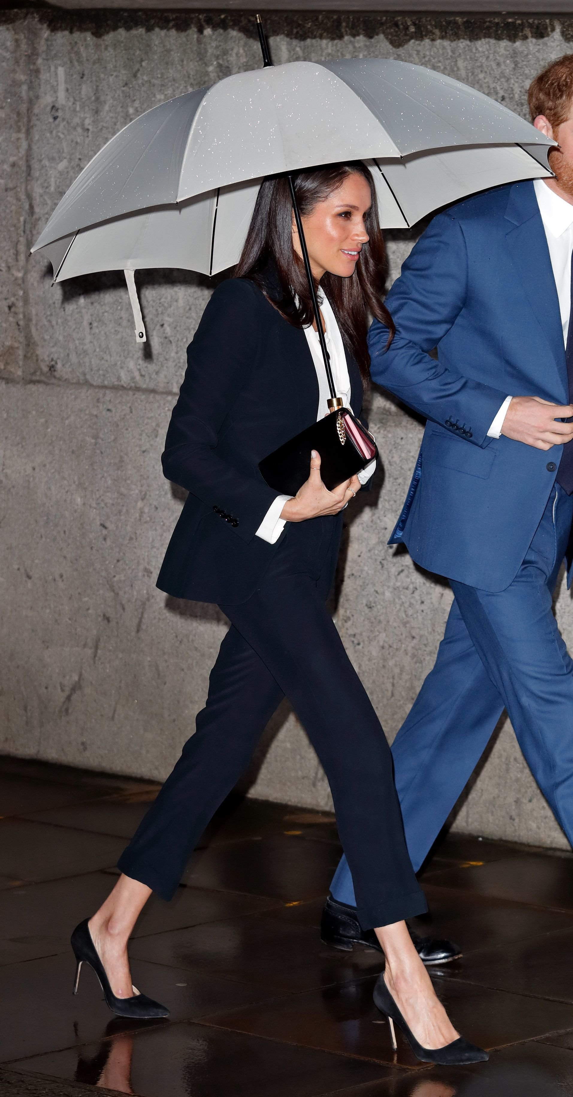 Meghan Markle Wears Navy Trouser Suit, Teaching Us All A Lesson In Power