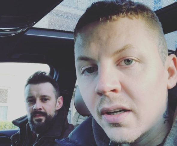 Professor Green with a friend who helped adapt that