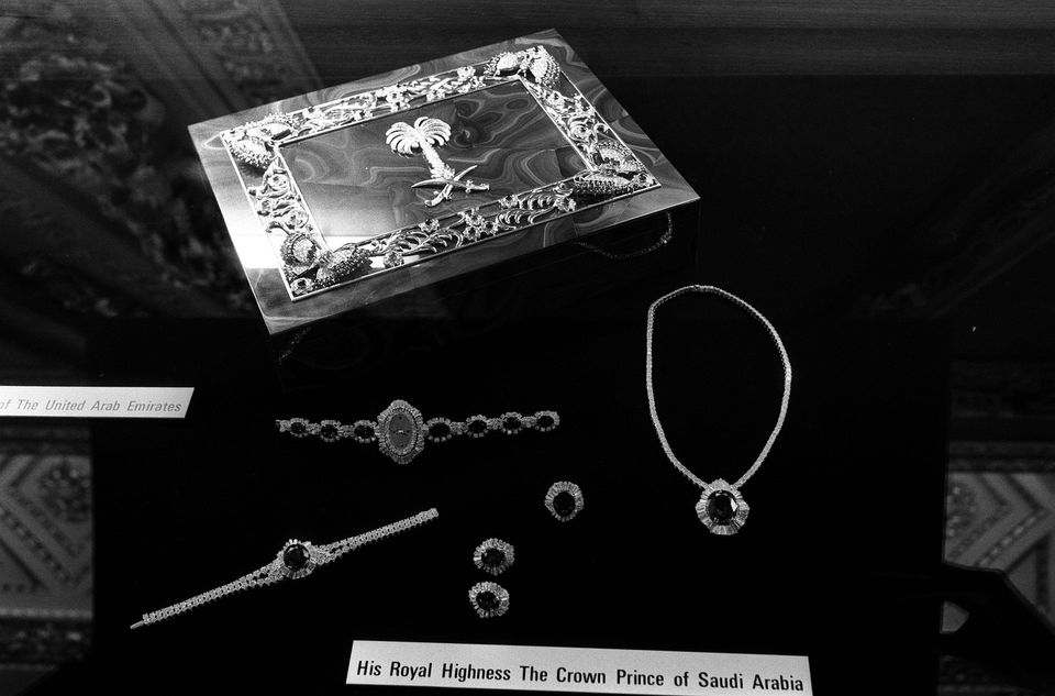 The jewellery given by the Crown Prince of Saudi Arabia as a wedding gift to the Prince and Princess...