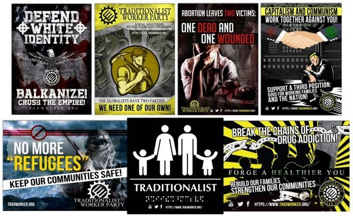 A sampling of propaganda from the Traditionalist Worker Party's website illustrates the group's controversial vie