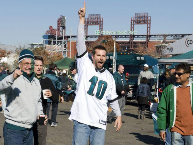 """Bradley Cooper, shown here in """"Silver Linings Playbook,"""" is a diehard Philadelphia Eagles fan."""