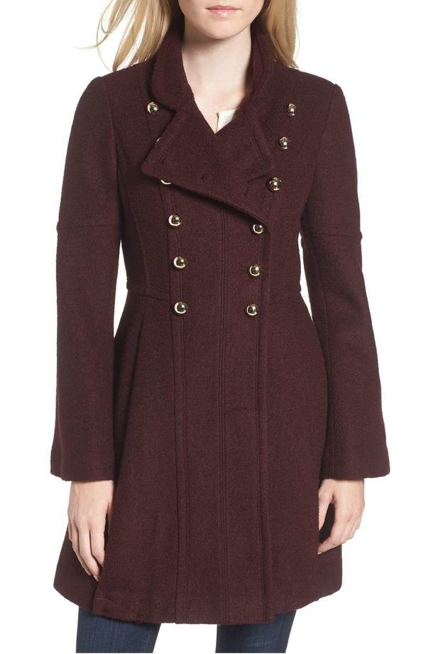 """<strong><a href=""""https://shop.nordstrom.com/s/guess-double-breasted-fit-flare-coat/4699160?contextualcategoryid=2375500&o"""
