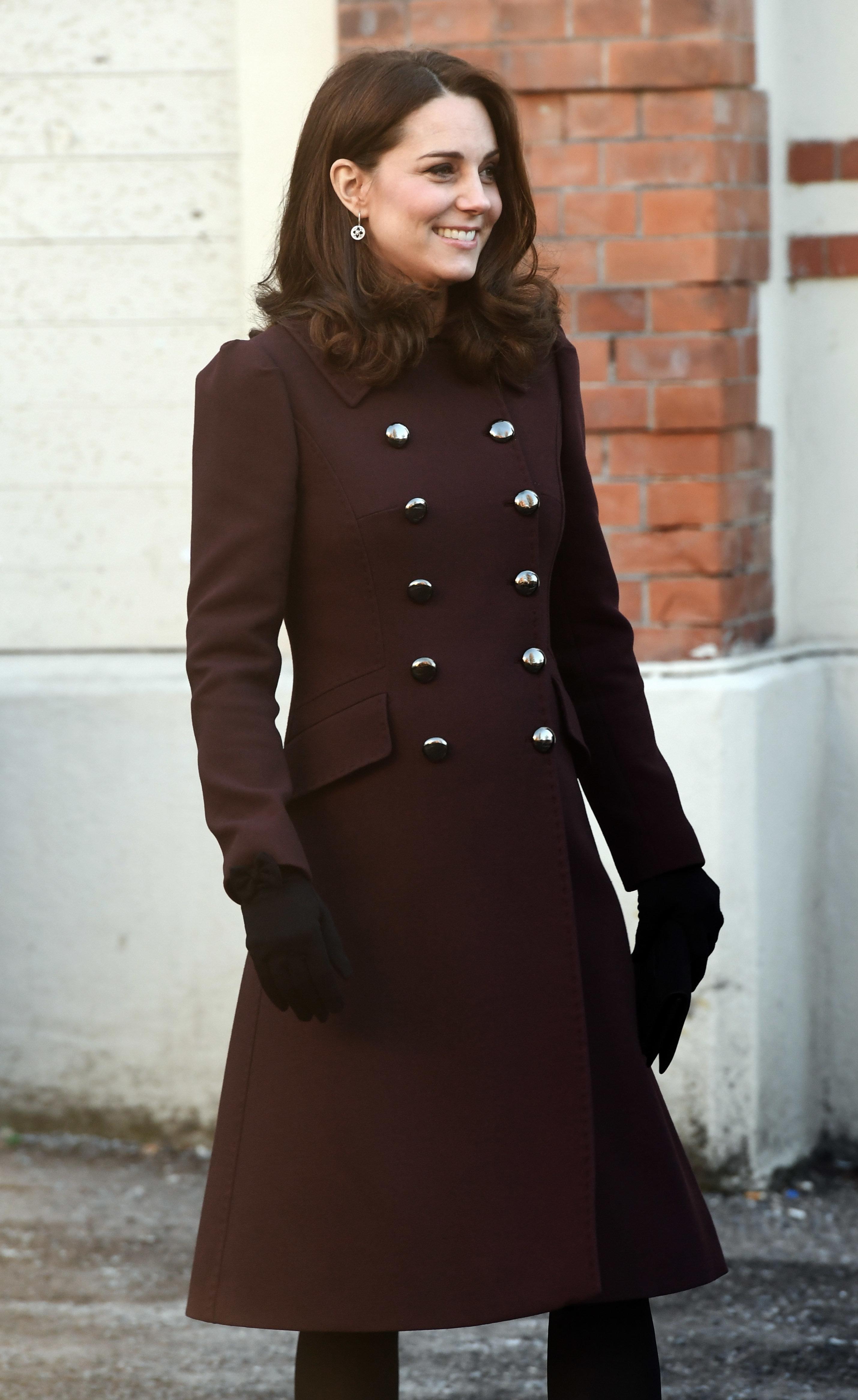 "The duchess wore this<a href=""https://www.popsugar.com/fashion/Kate-Middleton-Dolce-Gabbana-Coat-Norway-Feb-2018-445495"