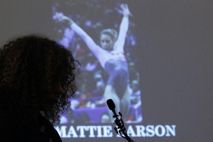 Victim Mattie Larson speaks at the sentencing hearing for Larry Nassaron January 23, 2018.