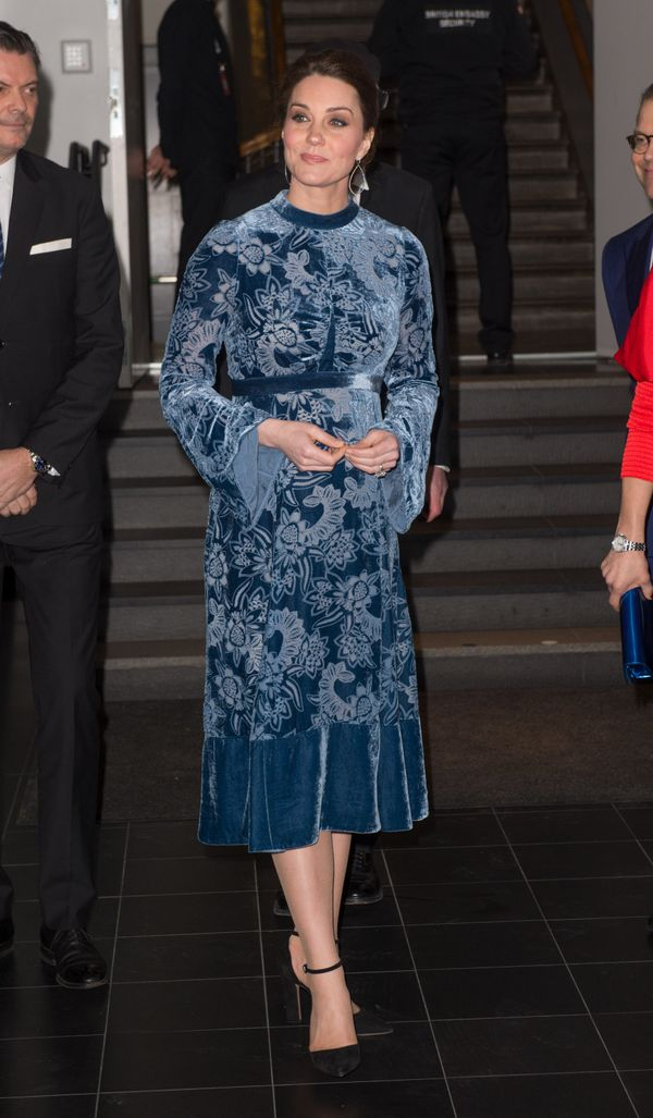 """On Jan. 31, her final night in Sweden, the duchess opted for this blue printed velvet <a href=""""http://www.elleuk.com/fashion/"""