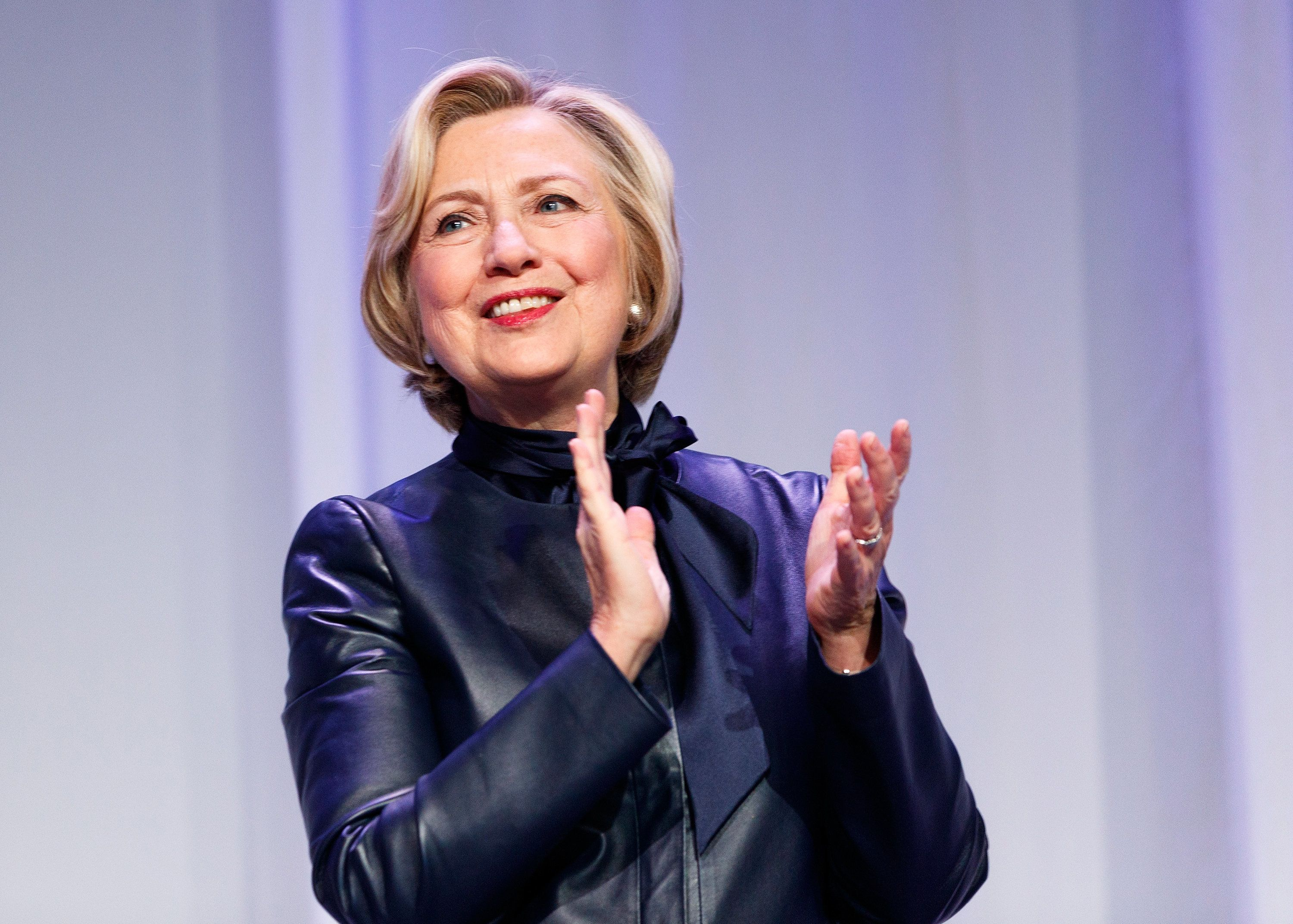 VANCOUVER, BC - DECEMBER 13:  Former U.S. Secretary of State Hillary Clinton speaks onstage during the tour for her new book 'What Happened' at Vancouver Convention Centre on December 13, 2017 in Vancouver, Canada.  (Photo by Andrew Chin/Getty Images)
