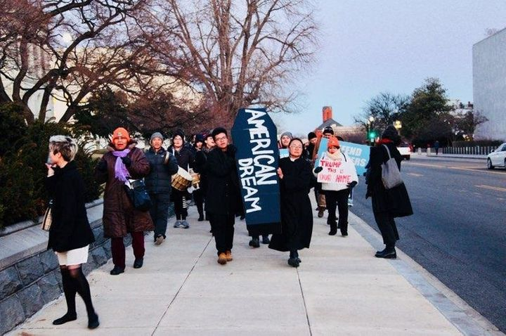 Protesters marched down the streets of Capitol Hill during the procession.