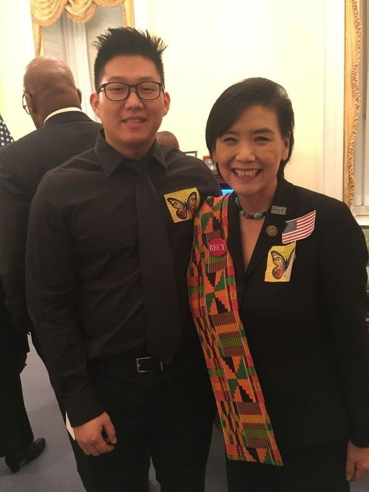 NAKASEC's Jung Bin Cho with Rep. Judy Chu (D-Calif.) at the State of the Union address on Tuesday.