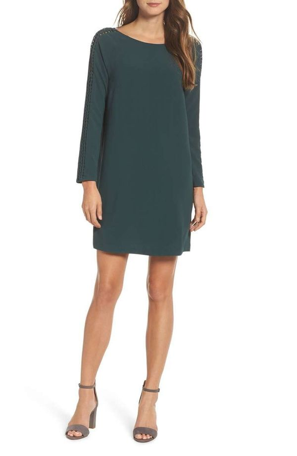 """<strong><a href=""""https://shop.nordstrom.com/s/felicity-coco-shea-lace-up-sleeve-shift-dress/4702450"""" target=""""_blank"""">Felicity"""