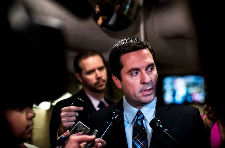 Rep Devin Nunes (R-Calif.) rushes away from the media on Capitol Hill on March 28, 2017.