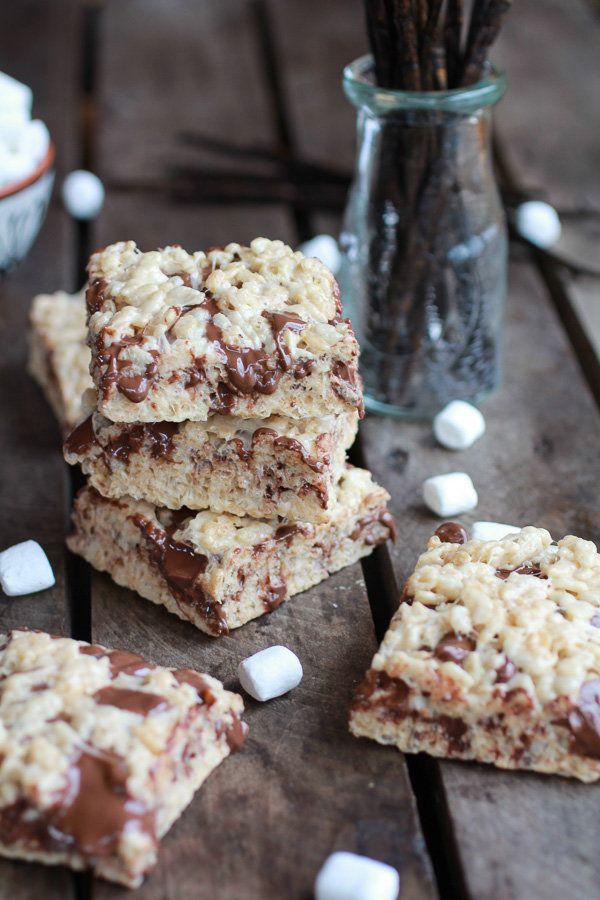 "<strong>Get the <a href=""http://www.halfbakedharvest.com/brown-butter-vanilla-bean-nutella-swirled-rice-krispie-treats/"" targ"