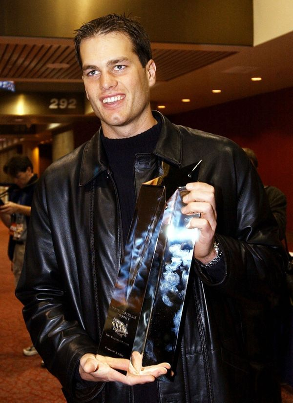 Holding the Most Valuable Player award for Super Bowl XXVI in February 2002 in New Orleans.