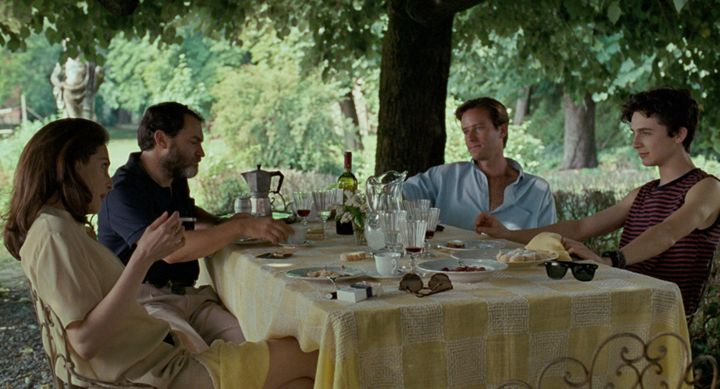 "Amira Casar, Michael Stuhlbarg, Armie Hammer and Timothée Chalamet in ""Call Me by Your Name."""
