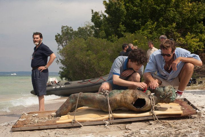 "Michael Stuhlbarg, Timothée Chalamet and Armie Hammer in ""Call Me by Your Name."""