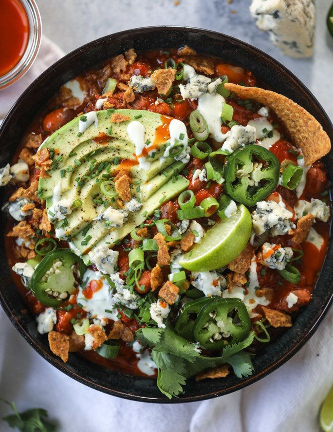 """<strong>Get the <a href=""""https://www.howsweeteats.com/2017/10/buffalo-chicken-chili-slow-cooker/"""" target=""""_blank"""">Slow Cooker"""