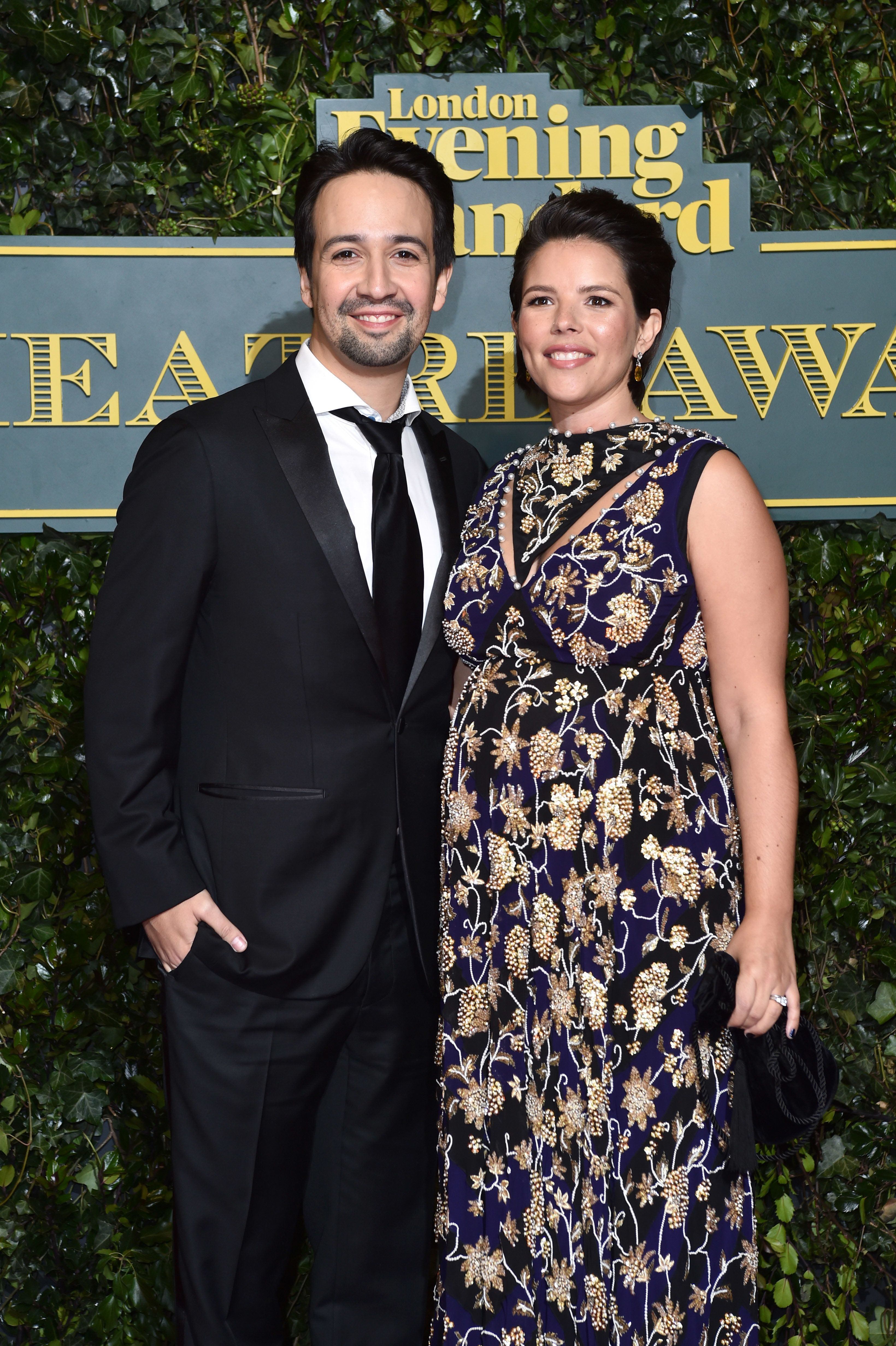 Lin-Manuel Miranda and Vanessa Nadal attending the Evening Standard Theatre Awards, at the Theatre Royal in London. PRESS ASSOCIATION Photo. Picture date: Sunday December 3rd, 2016. Photo credit should read: Matt Crossick/PA Wire.  (Photo by Matt Crossick/PA Images via Getty Images)