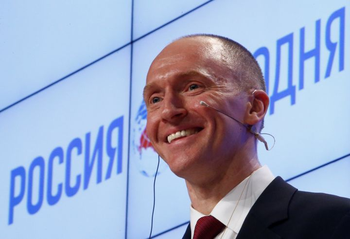 One-time Trump adviser Carter Page addresses the audience during a presentation in Moscow, Russia, on Dec. 12, 2016.&nbs