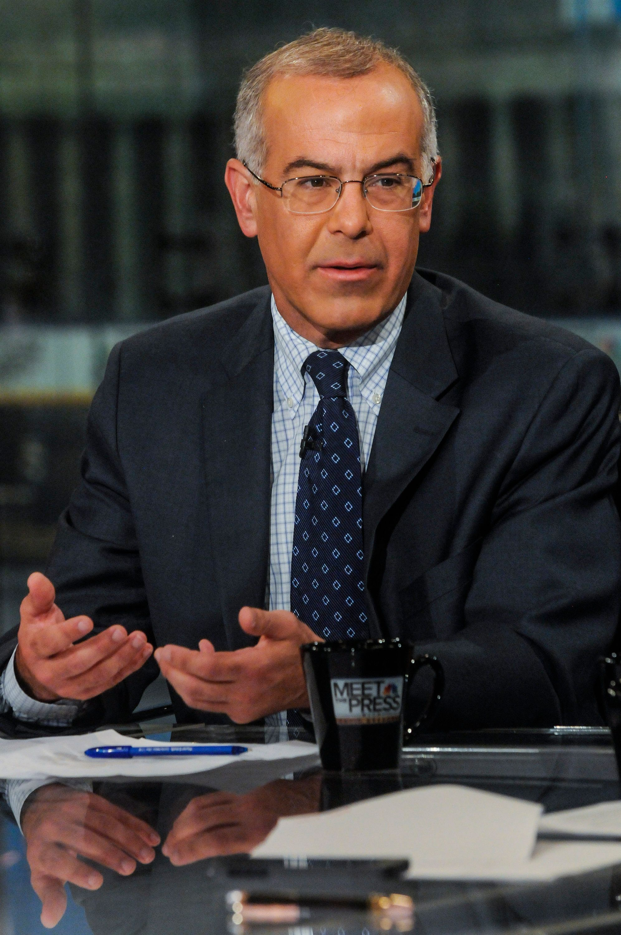 MEET THE PRESS -- Pictured: (l-r)   David Brooks, Columnist, The New York Times, appears on 'Meet the Press' in Washington, D.C., Sunday, August 11, 2013.  (Photo by: William B. Plowman/NBC/NBC NewsWire via Getty Images)