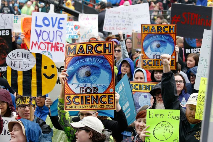 Demonstrators pack the Earth Day March for Science Rally on the National Mall on April 22, 2017.