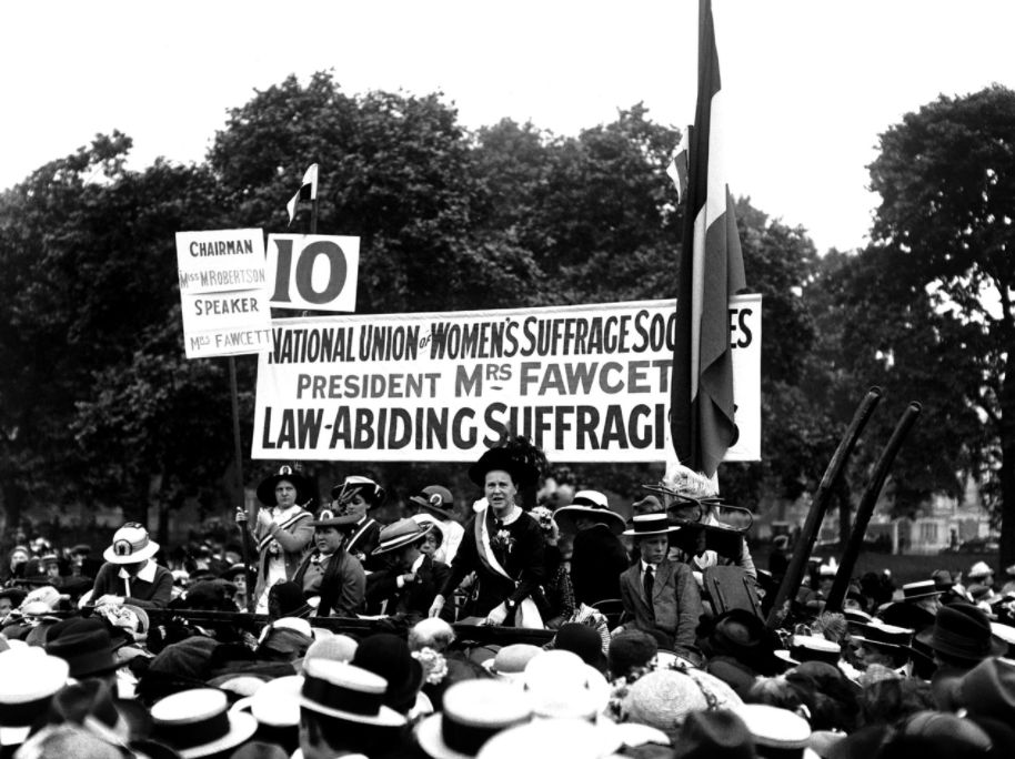 Millicent Fawcett who founded the National Union of Womens Suffrage speaks at the Suffragette Pilgrimage...