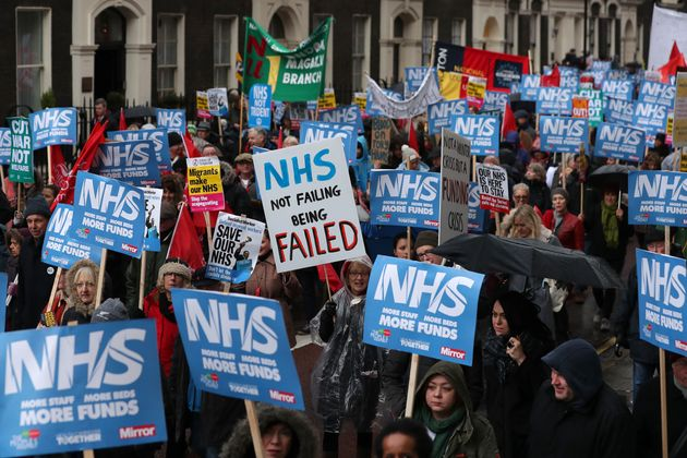 Thousands of protesters marched in London on Saturday calling for an end to the NHS