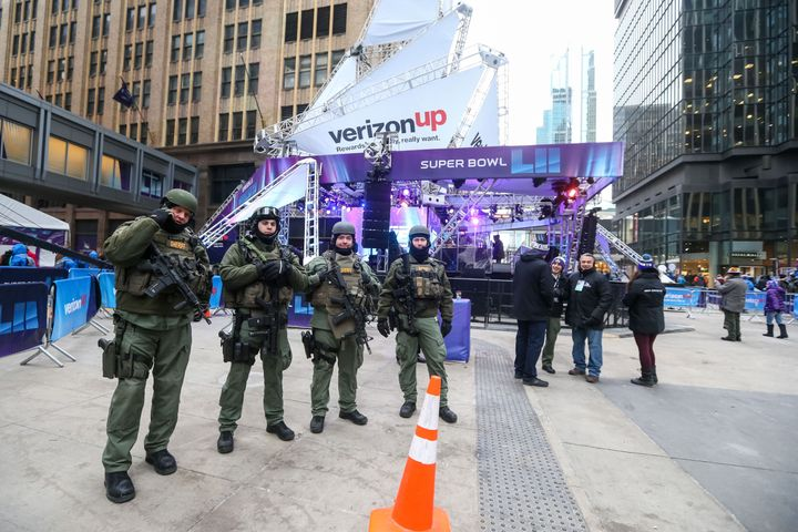 Totally apolitical sheriff's deputies stick to sports Tuesday on Nicollet Mall in Minneapolis.