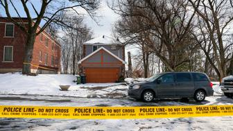 TORONTO, ON - FEBRUARY 1  -  Police tape at 53 Mallory Cres. in Leaside, February 1, 2018. Accused serial killer Bruce McArthur mowed the properties lawn and tended to gardens, turning their home into a crime scene.        (Andrew Francis Wallace/Toronto Star via Getty Images)