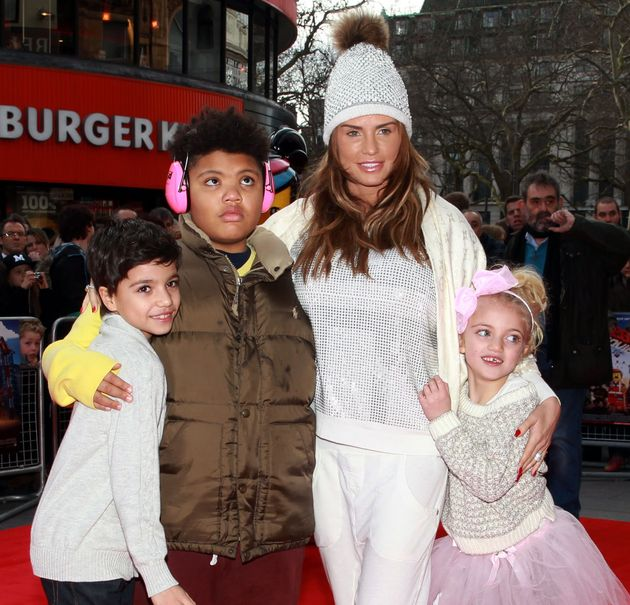 Katie Price with her children Junior (left)Harvey and Princess arriving at a celebrity screening of The...