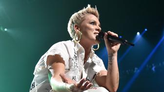 MINNEAPOLIS, MN - FEBRUARY 02:  Recording artist Pink performs on stage during Pink at Nomadic Live! at The Armory on February 2, 2018 in Minneapolis, Minnesota.  (Photo by Kevin Mazur/Getty Images)