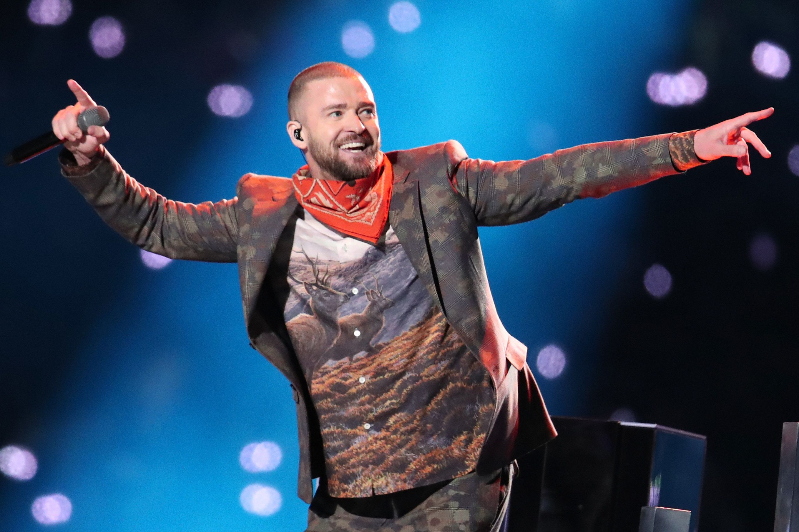 "Timberlake performed ""Rock Your Body,"" which he sang with Jackson during their infamous 2004 Super Bowl show."