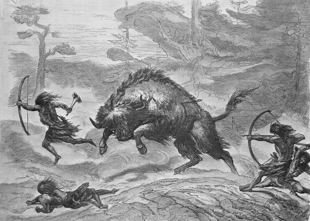 An engraving of prehistoric lake dwellers hunting the
