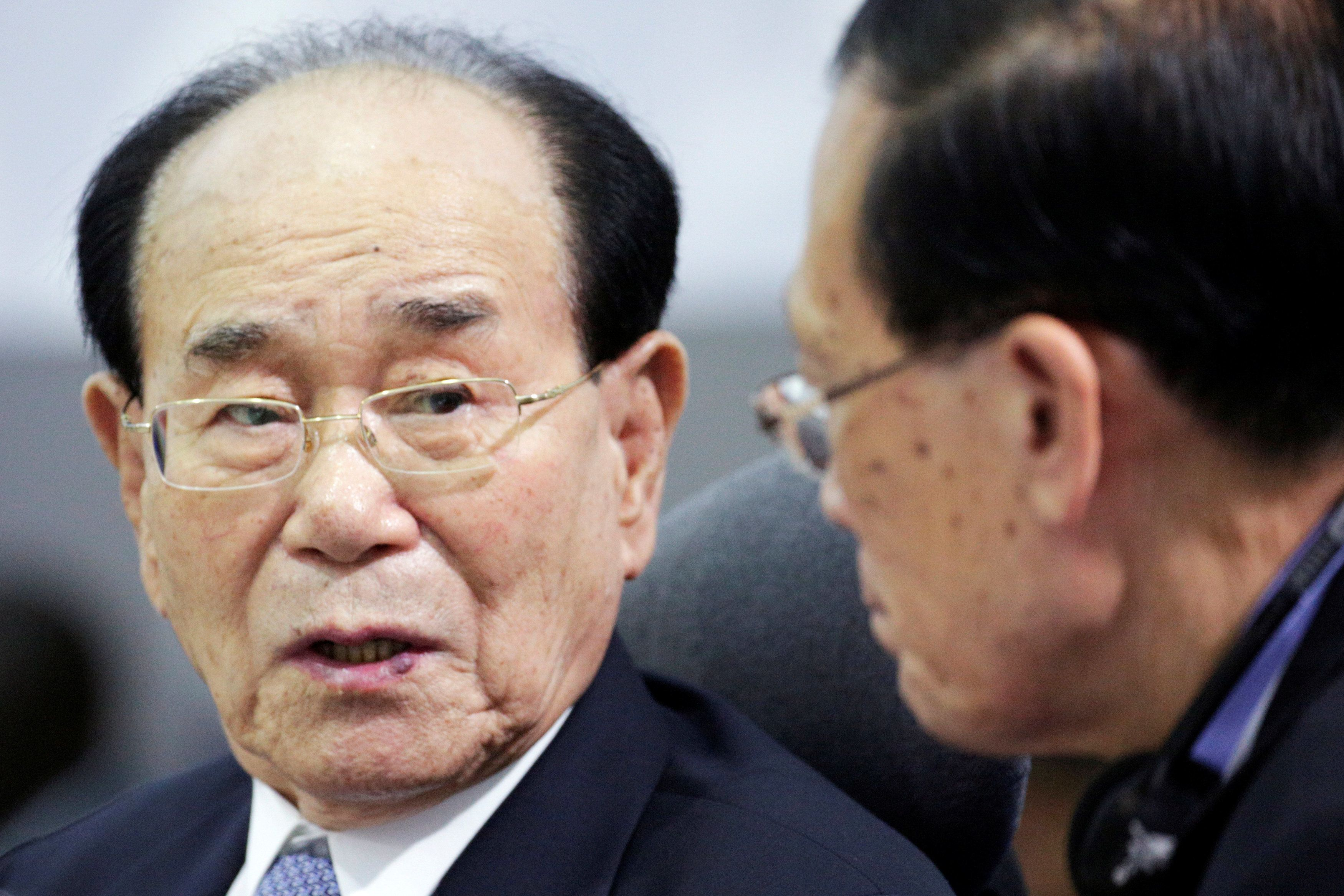 Kim Yong Nam, president of the Presidium of the Supreme People's Assembly of North Korea (left), pictured in 2016.