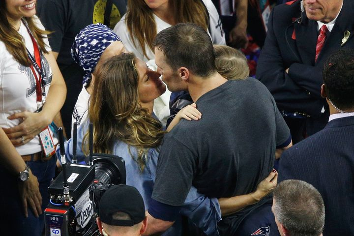 Gisele Bundchen celebrates with husband Tom Brady after the New England Patriots' victory in the 2017 Super Bowl