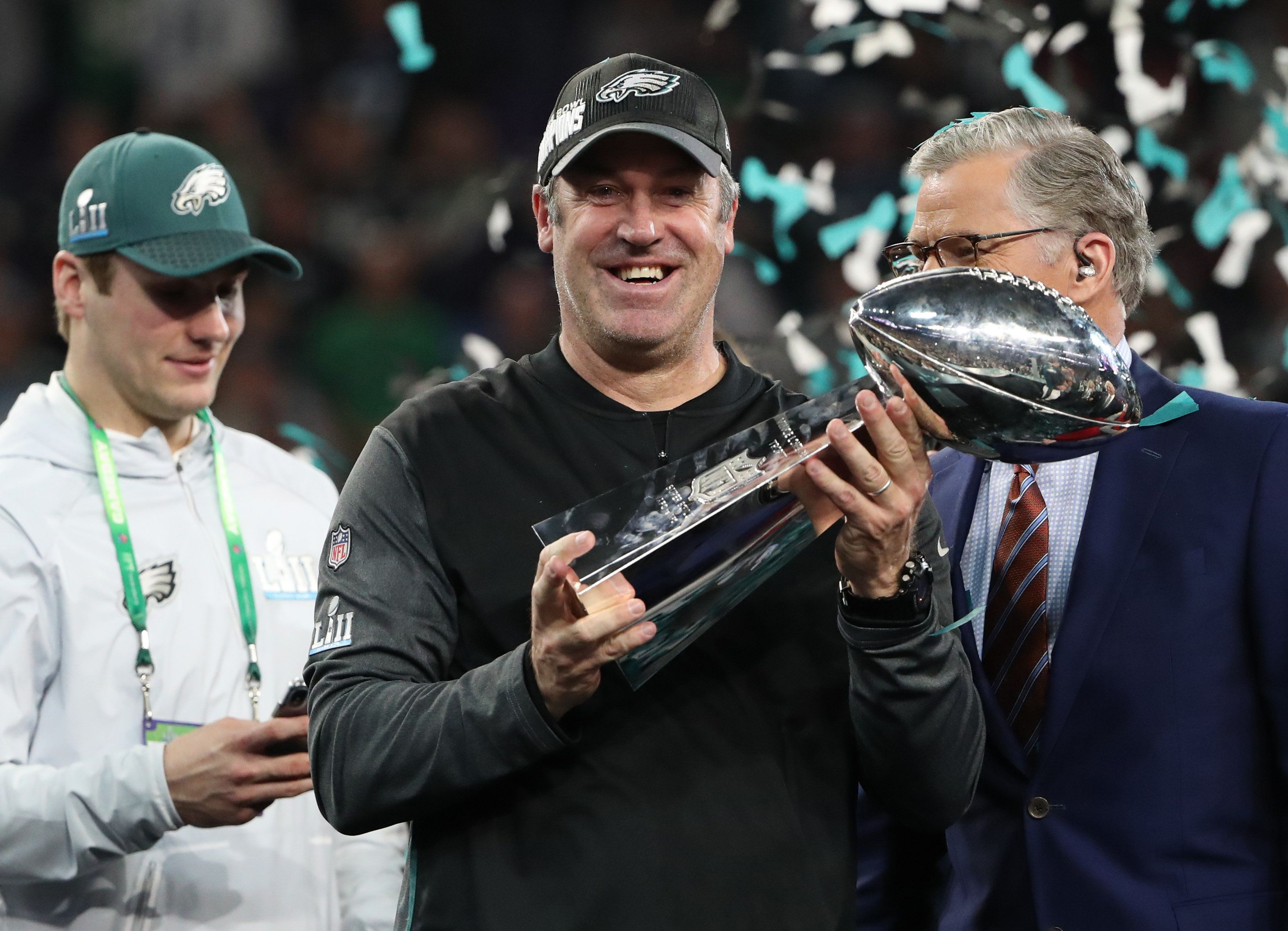 Philadelphia Eagles head coach Doug Pederson celebrates winning Super Bowl LII with the Vince Lombardi Trophy in Minneapolis,