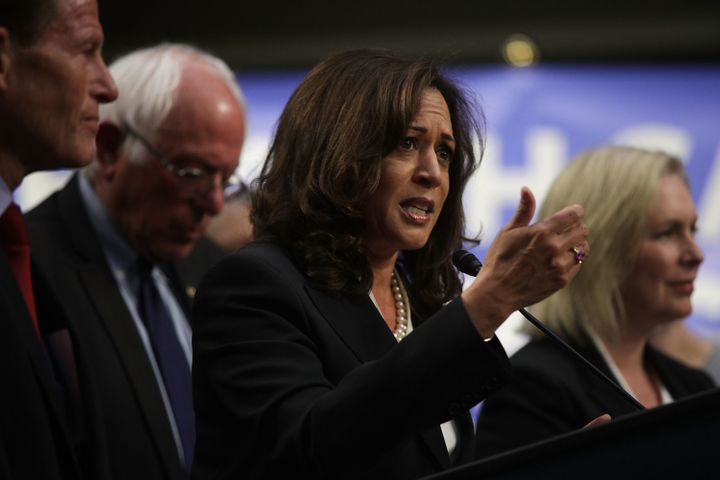 Senators Kamala Harris, Bernie Sanders and Kerstin Gillibrand onstage at an event introducing the Medicare for All Act of 201