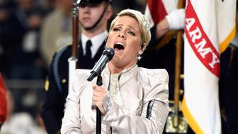 MINNEAPOLIS, MN - FEBRUARY 04:  Recording artist Pink performs the National Anthem during the Super Bowl LII Pregame show at U.S. Bank Stadium on February 4, 2018 in Minneapolis, Minnesota.  (Photo by Kevin Mazur/WireImage)