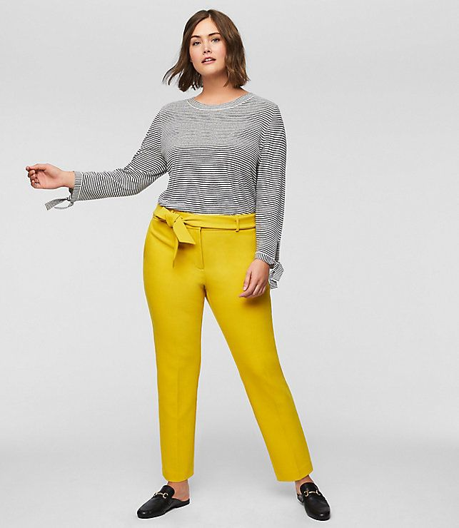 "From&nbsp;Loft's new plus collection, featuring the <a href=""https://www.loft.com/loft-plus-slim-tie-waist-pants/459412"" target=""_blank"">Slim Tie Waist Pant in Solar Yellow</a>.&nbsp;"