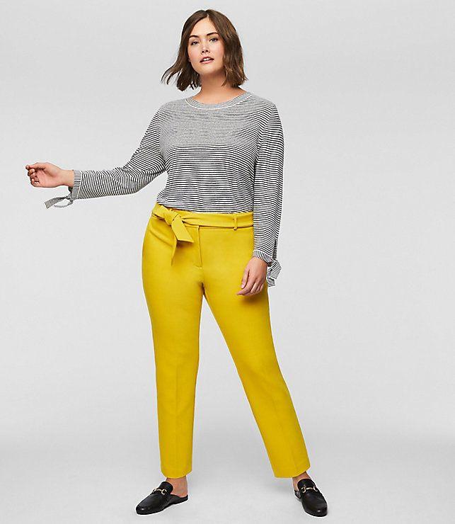 "FromLoft's new plus collection, featuring the <a href=""https://www.loft.com/loft-plus-slim-tie-waist-pants/459412"" target=""_blank"">Slim Tie Waist Pant in Solar Yellow</a>."