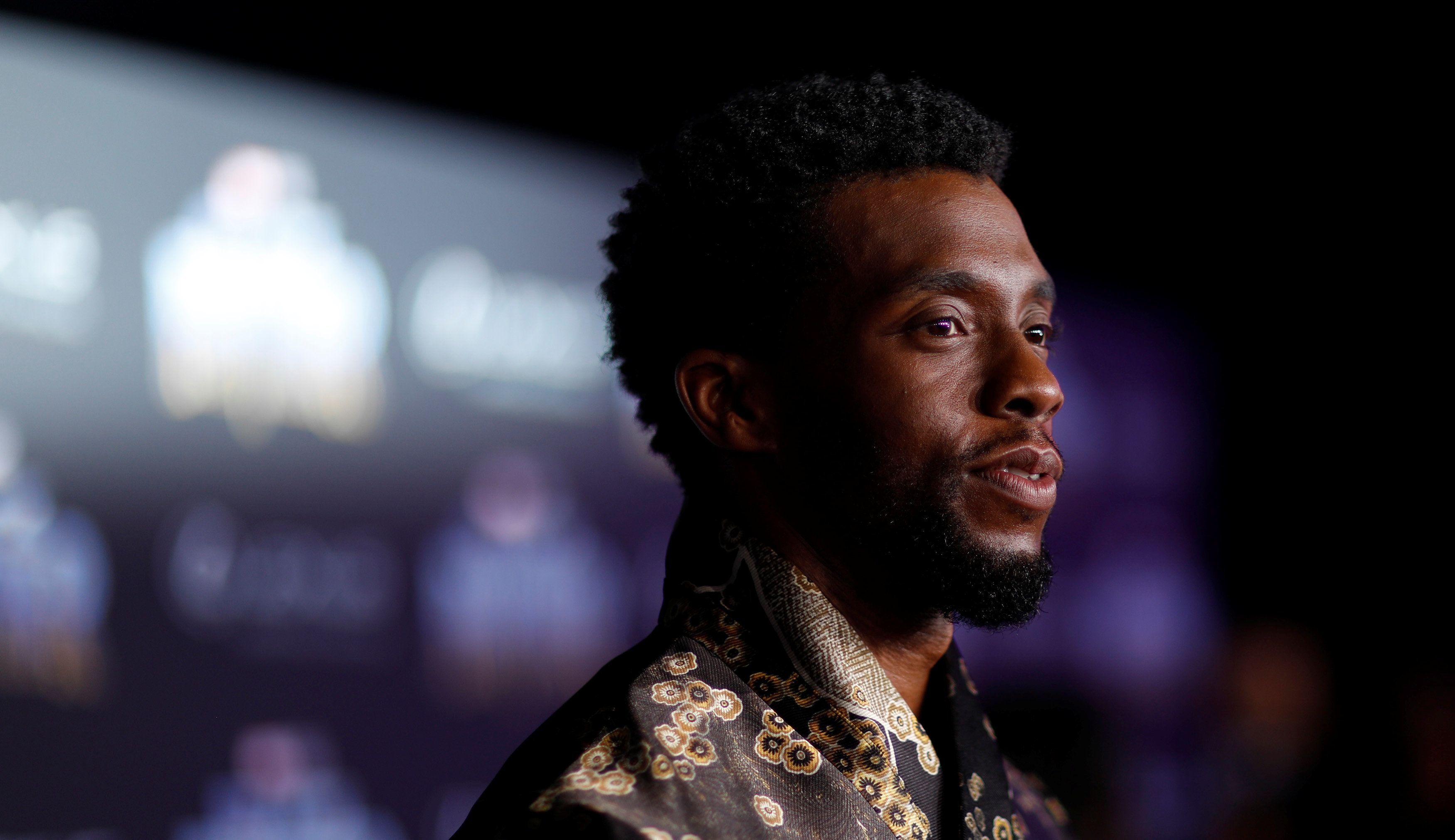 Chadwick Boseman, who plays the Black Panther, attends the movie's premiere in Los Angeles on Jan. 29.