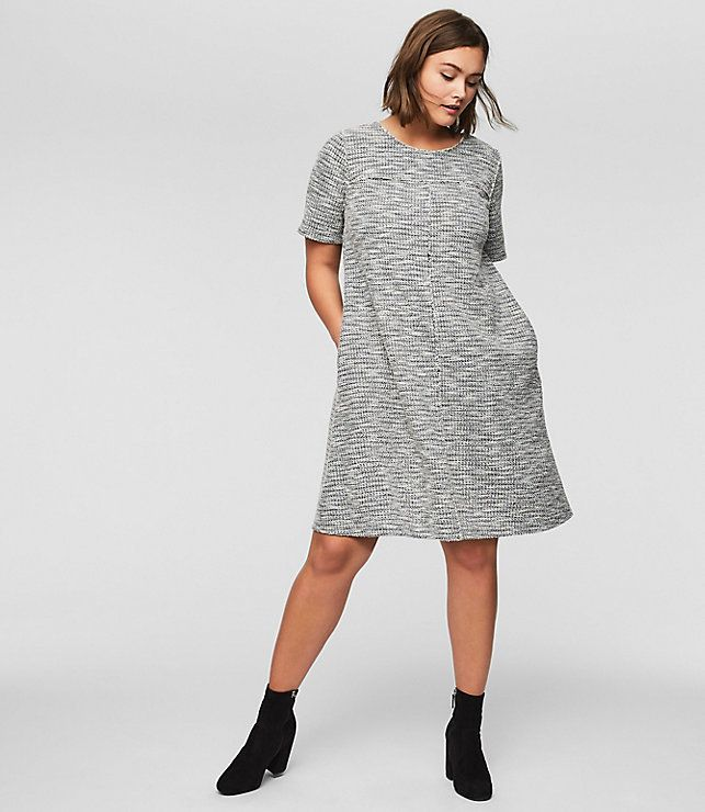"""From Loft's new plus collection, featuring the <a href=""""https://www.loft.com/loft-plus-fringe-tweed-pocket-dress/459719"""" target=""""_blank"""">Fringe Tweed Pocket Dress</a>."""