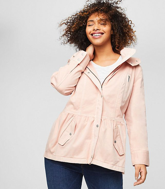 """From Loft's new plus collection, featuring the <a href=""""https://www.loft.com/loft-plus-hooded-utility-jacket/458373"""" target=""""_blank"""">Hooded Utility Jacket</a>."""
